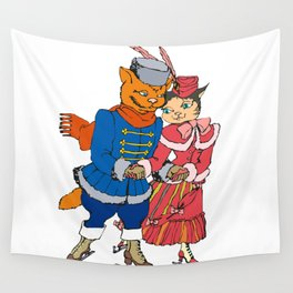 cat-gentlman and cat-lady skate Wall Tapestry