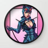 nicki Wall Clocks featuring Catwoman - Gotham Girls #1 by J Skipper