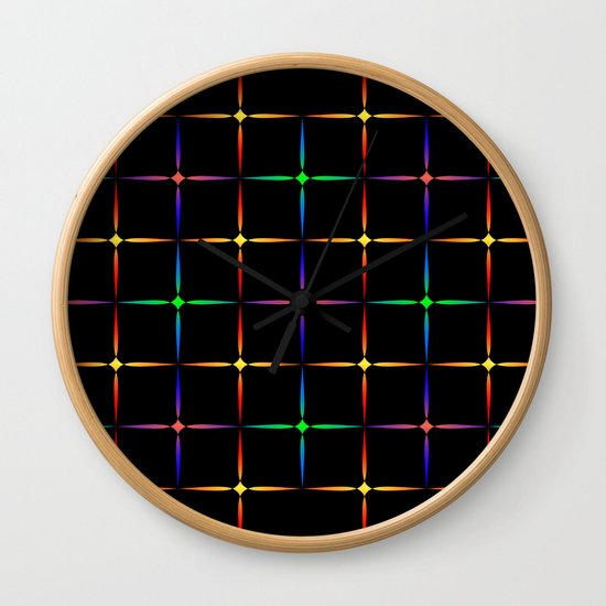 Neon diamonds. Pattern or background of multicolored neon stars on a black background by grachyhamr