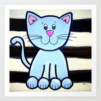BW BLUE cat 2 Art Print