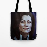 nan lawson Tote Bags featuring Mass Effect: Miranda Lawson by Ruthie Hammerschlag
