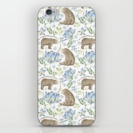 Bears in Blue Flowers iPhone Skin