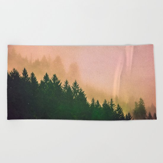 Cascadia Green Trees and Sunset Beach Towel