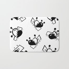 Hearts with Stitches - Black Bath Mat