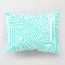 Sketchy Abstract (White & Turquoise Pattern) Pillow Sham