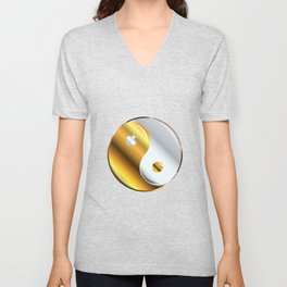 Yin and Yang Gold And Silver Unisex V-Neck