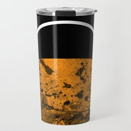 Sunset - Abstract Geometric Art In Black, Gold and White Travel Mug