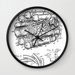 Airplane Jet Engine Patent - Airline Engine Art - Black And White Wall Clock