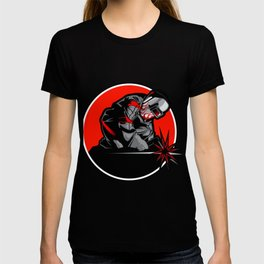 Welder working in the mask in the weld metal sparks T-shirt