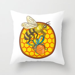 Bumblebee Carrying Honey Pot Beehive Circle Throw Pillow