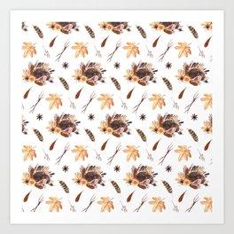 Cute brown pink orange yellow watercolor hedgehogs fall leaves Art Print