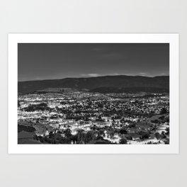 Okanagan Cityscape BW Art Print