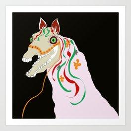 Horse head skull of Mari Lwyd celebration Wales good luck Art Print