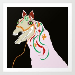 Horse head skull of Mari Lwyd celebration Wales good luck Art Print
