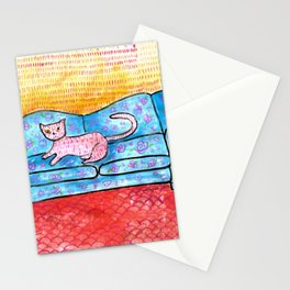 Colorful Cat Sitting on Colorful Sofa Stationery Cards