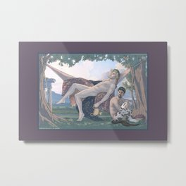 Dionysus and Satyr Metal Print