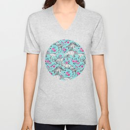 Dinosaurs and Roses - turquoise blue Unisex V-Neck