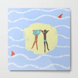 Summer. Series: Oil Paint Smears. Summer, sea, friendship. Metal Print