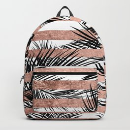 Trendy tropical palm trees chic rose gold stripes Backpack
