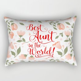Best Aunt in the World! framed with Meadow Flowers (MFP-C7) Rectangular Pillow