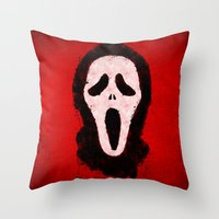 scream Throw Pillows featuring Scream by Bill Pyle
