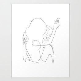 minimal line art - kiss Art Print