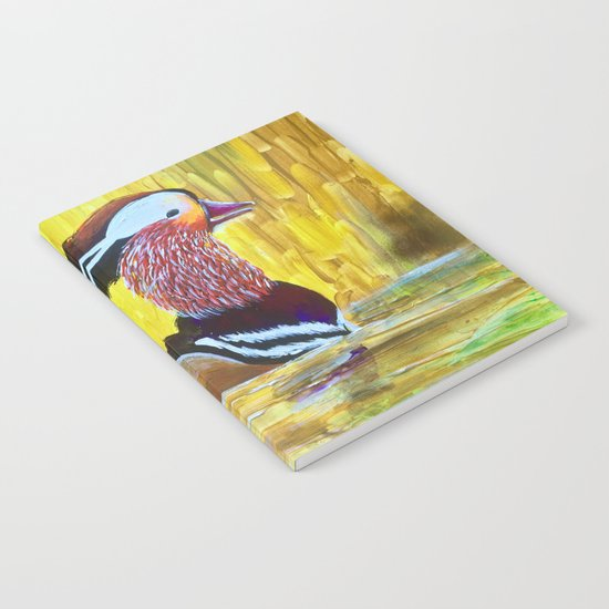 Colorful Mandarin Duck Floating on the water Notebook