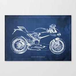 D Superbike 1299 Panigale 2015 blueprint Canvas Print