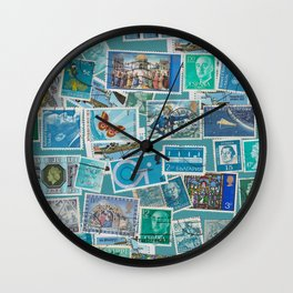 Postage Bleu Wall Clock