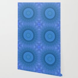 Sunflower Feather Bohemian Cool Blue Pattern \\ Aesthetic Vintage \\ Ice Snow Aqua Color Scheme Wallpaper