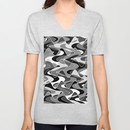 Black and white space waves distribution, cosmos abstraction, scientific texture design, pattern Unisex V-Neck