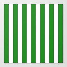 Vertical Stripes (Forest Green/White) Canvas Print