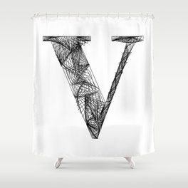 ''City Collection'' - Minimal Letter V Print Shower Curtain
