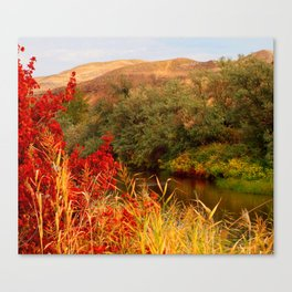 Fall by the water Canvas Print