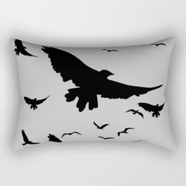 FLOCK OF RAVENS IN GREY SKY Rectangular Pillow