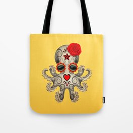 Red Day of the Dead Sugar Skull Baby Octopus Tote Bag