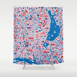 Hamburg City Map Poster Shower Curtain