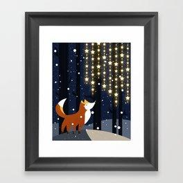 Fox and stars Framed Art Print