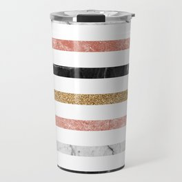 marble and metal stripes Travel Mug