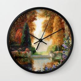 Silver and Gold - Luxuriant Autumn Garden by Thomas Mostyn Wall Clock