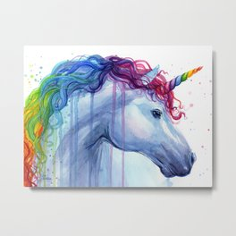 Rainbow Unicorn Colorful Watercolor Animal Metal Print