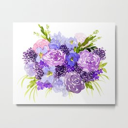 Sweet Purple Watercolor Bouquet Metal Print