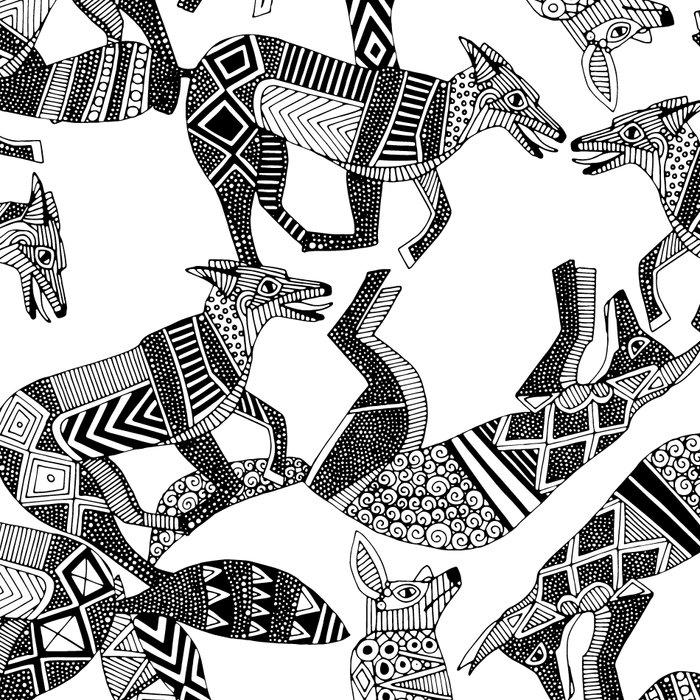 woodland fox party black white Leggings