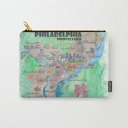 Philadelphia Pennsylvania Fine Art Print Retro Vintage Map with Touristic Highlights Carry-All Pouch