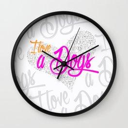 I LOVE A DOGS Wall Clock