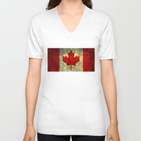 canada V-neck T-shirts featuring Oh Canada! by Bruce Stanfield
