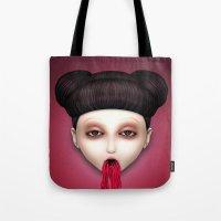 misfits Tote Bags featuring Misfit - Sakura by Raymond Sepulveda