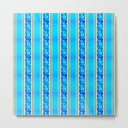 Blue Hibiscus Honu Stripes Metal Print