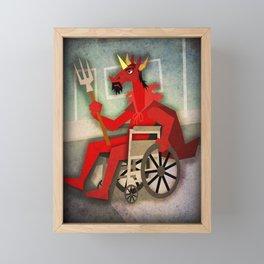 Devil Unicorn in Wheelchair Framed Mini Art Print