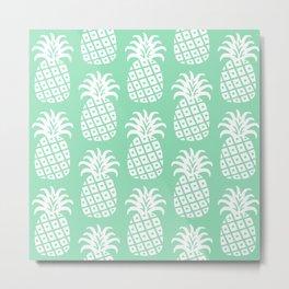 Retro Mid Century Modern Pineapple Pattern Mint Green 2 Metal Print